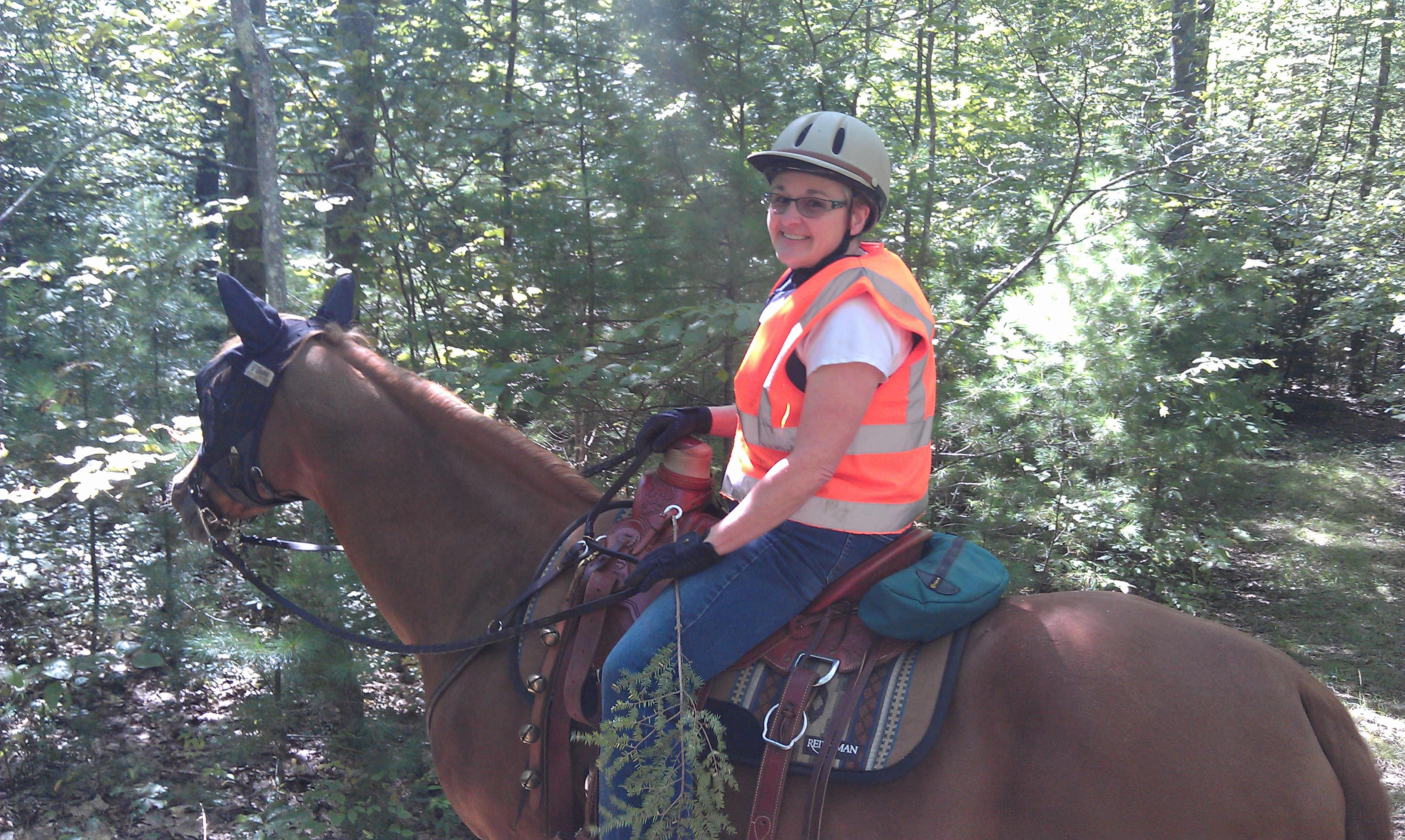 Enjoying a trail ride during hunting season